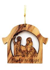 Olive Wood Flight into Egypt Ornament (LZO-140)
