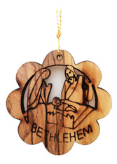 Bethlehem Olive Wood Nativity Ornament (LZO-144)