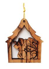 Olive Wood Angel Ornament (LZO-145)