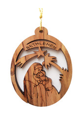 Bethlehem Olive Wood Mary w/ Baby Ornament (LZO-147)