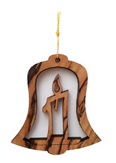Olive Wood Christmas Candle Ornament (LZO-153)