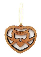 Olive Wood Peace on Earth Ornament (LZO-157)