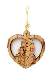 Olive Wood Mary w/Baby Ornament (LZO-160)