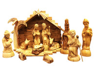 Olive Wood Nativity Set With 3-D Palm Tree Stable. Deluxe (16 Pieces Set)