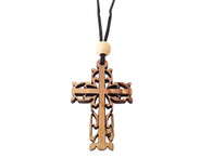 Olive Wood Filigree Cross W/Cord 1.6 inches in Height