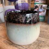 Glazed ceramic pot - brown and white