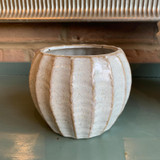 Ridged - Glazed pot