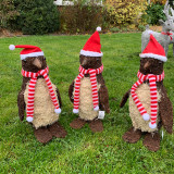 Brushwood penguin with festive scarf & hat