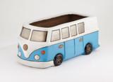Glazed Camper Van Planter - Blue