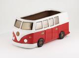 Glazed Camper Van Planter - Red
