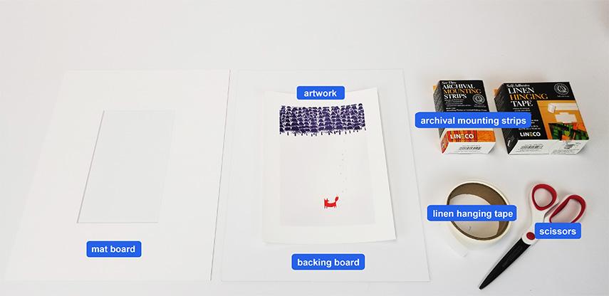 mount strips materials - mat board center