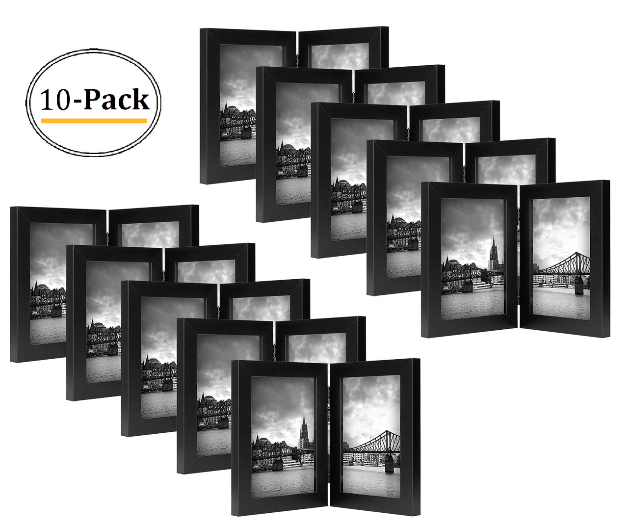 Decorative Hinged Table Desk Top Picture Photo Frame 2 Vertical