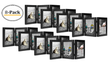 Decorative Hinged Table Desk Top Picture Photo Frame, 3 Vertical Openings, 5x7 inches with Real Glass (5x7 Triple, Black) (8pcs/box)