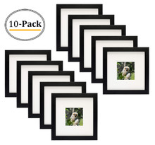 Simple and Stylish Picture Frame with Ivory Color Mat & Real Glass (8x8-Table Top, Black) (10pcs/box)