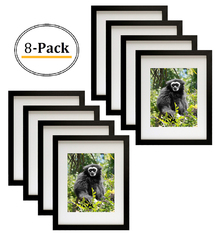 Simple and Stylish Picture Frame with Ivory Color Mat & Real Glass (11x14, Black) (8pcs/box)