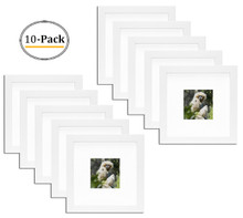 Simple and Stylish Picture Frame with Ivory Color Mat & Real Glass (8x8-Table Top, White) (10pcs/box)