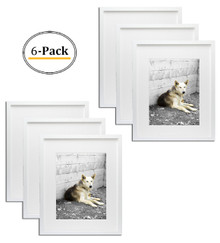 Simple and Stylish Picture Frame with Ivory Color Mat & Real Glass (16x20, White) (6pcs/box)