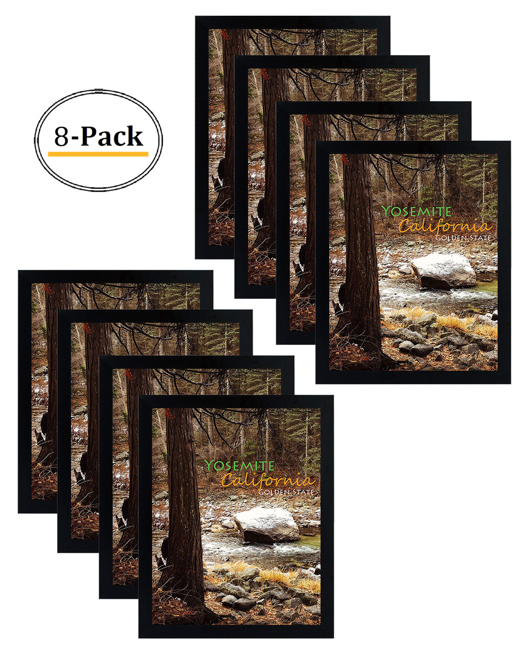 Set of 6-16x20 Black Wood Picture Frames and Clear Glass