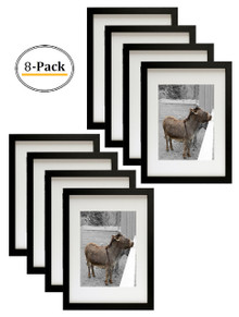 12x16 Picture Frame - Matted to Fit Pictures 8.5x11 Inches or 12x16 Without Mat (Black) (8pcs/box)