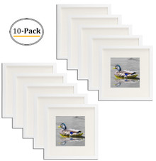 White 12x12 Square Picture Frame - Matted to Fit Pictures 8x8 Inches or 12x12 Without Mat (10pcs/box)