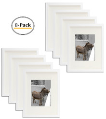 12x16 Picture Frame - Matted to Fit Pictures 8.5x11 Inches or 12x16 Without Mat (White) (8pcs/box)