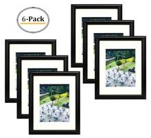 11x14 Black Frame - Curved Bevel Design - Made to Display Pictures 8x10 Photo With Ivory Color Mat - Real Glass (6pcs/box)