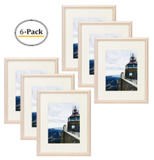 16x20 Natural Color Frame - Curved Bevel Design - Made to Display Pictures 11x14 Photo With Ivory Color Mat - Real Glass (Natural 16x20) (6pcs/box)