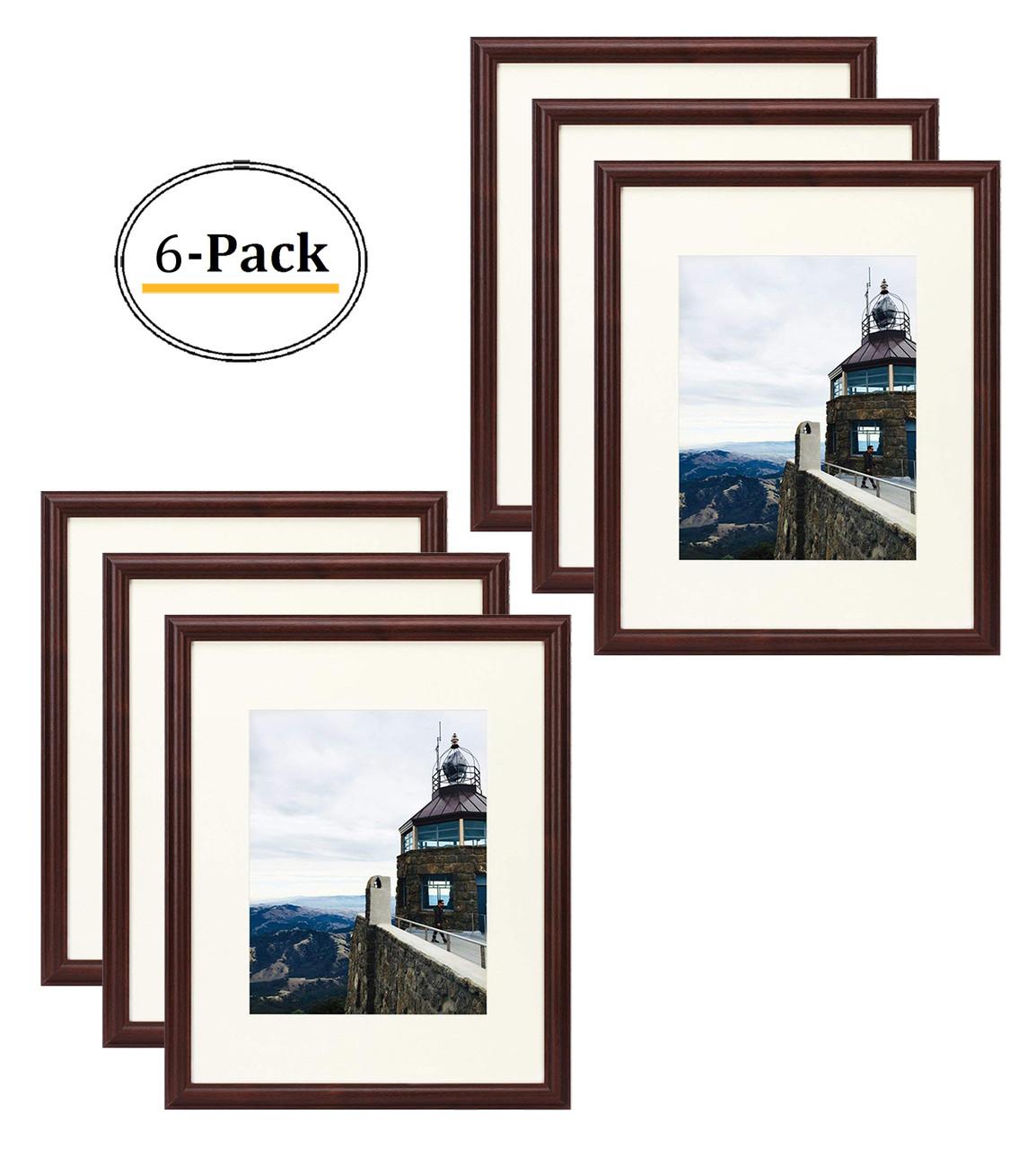 16x20 Photo Frame Walnut Color Curved Bevel Design