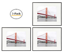 Metal Wall Photo Frame Collection, Aluminum Black Photo Frame with Real Glass (16X20) (3pcs/box)