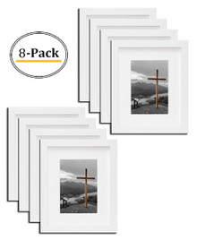 Wall Photo Frame Collection, Photo Frame with Ivory Color Mat & Real Glass (8x10-Table Top, White) (8pcs/box)