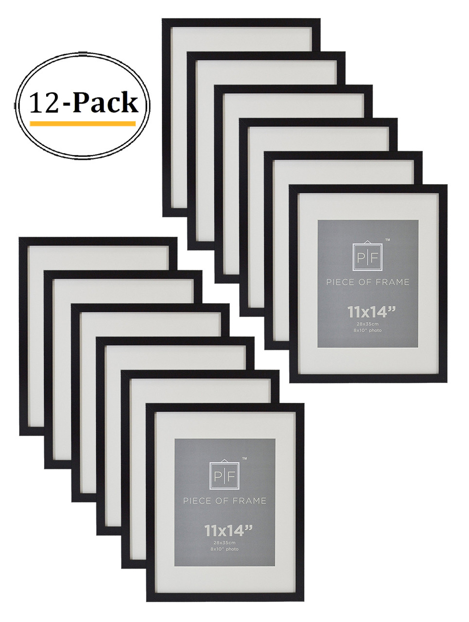11x14 Black Photo Frame With Ivory Color Mat For 8x10 Pictures