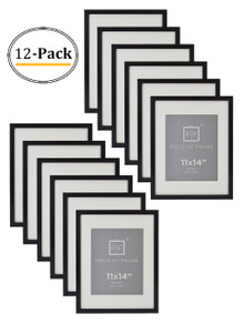 11x14 Black Photo Frame, with Ivory Color Mat for 8x10 Pictures, Real Glass (12pcs/box)