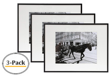 Metal Wall Photo Frame Collection, Aluminum Black Photo Frame with Real Glass (12X16) (3pcs/box)