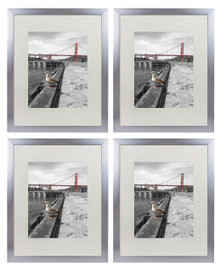 16x20 Metal Picture Frame Collection, Aluminum Silver Photo Frame with Ivory Color Mat for 11x14 Picture & Real Glass (4pcs/box)
