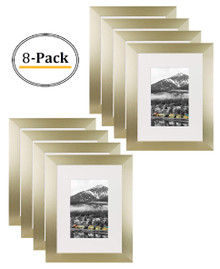 Gold Color Satin Aluminum Landscape Or Portrait Table-top Picture Frame With Ivort Color Mat & Real Glass (8x10) (8pcs/box)