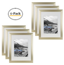 Gold Color Satin Aluminum Landscape Or Portrait Picture Frame With Ivort Color Mat & Real Glass (11x14) (6pcs/box)