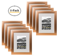 8x10 Frame for 5x7 Picture Rose Gold Aluminum, Satin Finish (8 Pcs per Box)