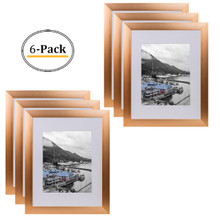 Rose Gold Color Satin Aluminum Landscape Or Portrait Photo Frame With Ivory Color Mat & Real Glass (11x14) (6pcs/box)