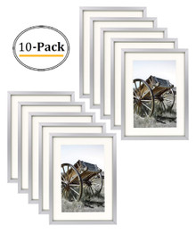 Classic Satin Aluminum Landscape Or Portrait Table-Top Photo Frame With Ivort Color Mat For 4x6 Photo & Real Glass (Silver) (10pcs/box)