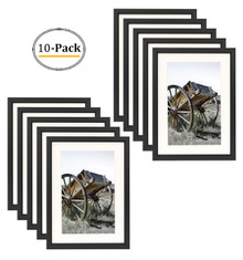 5x7 Classic Satin Aluminum Landscape Or Portrait Table-Top Photo Frame With Ivort Color Mat For 4x6 Photo & Real Glass (Black) (10pcs/box)