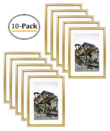 5x7 Classic Satin Aluminum Landscape Or Portrait Table-Top Photo Frame With Ivort Color Mat For 4x6 Photo & Real Glass (Gold) (10pcs/box)