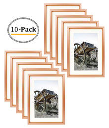 5x7 Classic Satin Aluminum Landscape Or Portrait Table-Top Photo Frame With Ivort Color Mat For 4x6 Photo & Real Glass (Rose Gold) (10pcs/box)