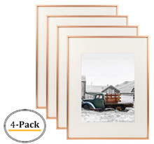 16x20 Classic Satin Aluminum Landscape Or Portrait Photo Frame With Ivory Color Mat For 11x14 Photo & Real Glass (Rose Gold) (4pcs/box)