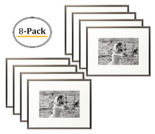 8x10 Aluminum Frame, Medium Bronze Color, with Ivory Mat for 5x7 Picture/Photo, Easel Stand for Table-Top & Real Glass (8x10) (8pcs/box)