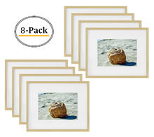 8x10 Picture Frame - Gold Aluminum (Shiny Brushed) - Fit Photo 5x7 With Ivory Mat or 8x10 without Mat - Metal Frame by Real Glass (8x10, Gold) (8pcs/box)
