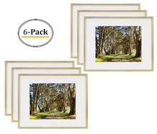 11x14 Picture Frame - Gold Aluminum (Shiny Brushed) - Fit Photo 8x10 With Ivory Mat or 11x14 without Mat - Metal Frame by Wall Mounting - Real Glass (11x14, Gold) (6pcs/box)