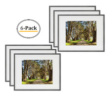 11x14 Picture Frame - Dark Gray Aluminum (Shiny Brushed) - Fit Photo 8x10 With Ivory Mat or 11x14 without Mat - Metal Frame by Wall Mounting - Real Glass (11x14, Dark Gray-Silver) (6pcs/box)