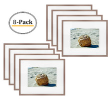 8x10 Picture Frame - Antique-Bronze Aluminum - Fit Photo 5x7 With Ivory Mat or 8x10 without Mat - Metal Frame by Shiny Brushed Style - Real Glass (8x10, Antique-Bronze) (8pcs/box)