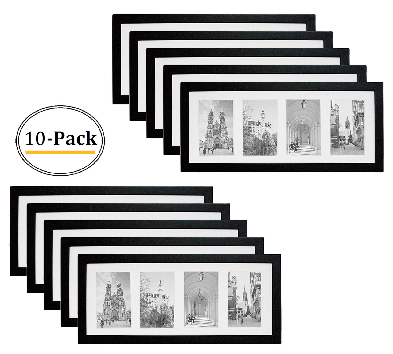 with easel backing Clear Glass Set of 6-8x12 Black Wood  Photo Frame