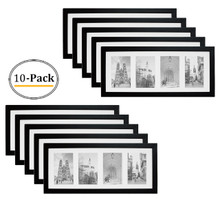 8x20 Black Photo Wood Collage Frame with REAL GLASS and White Mat displays (4) 4x6 pictures (10pcs/box)